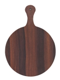 "Arcata, Round Serving Board, 11 3/4"" dia., w/Handle, Melamine, Wood Finish"