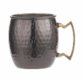 American Metalcraft, Hammered Moscow Mule Mug, 16 oz, Black, Brass Handle