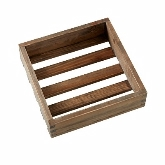 "American Metalcraft, Square Wooden Crate, 9"" x 9"" x 2 3/8"", Walnut"