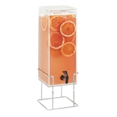 CAL-MIL, Mid-Century Square Beverage Dispenser, 3 gallon, Ice Chamber
