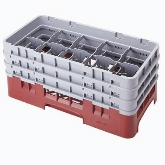 "Cambro Camrack Glass Rack, w/ 3 Extenders, Half Size, 10"" x 19 3/4"" x 8 7/8"", 10 Compartments, Soft Gray"