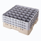 "Cambro, Camrack Glass Rack, w/ 5 Extenders, Full Size, 36 Compartments, 10 1/8"" Max. H, Navy Blue"