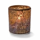 "Hollowick, Crackle Votive Lamp, Gold, Glass, 3"" dia. x 3 1/4"""