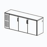 Perlick Backbar Storage Cabinet, Three-sections
