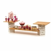 Rosseto, 5 Piece Skycap Display Riser Set, White Powder Coated Steel Risers, Bamboo Surface