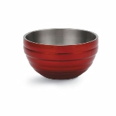 Vollrath Round Double Wall Insulated Colored Serving Bowl, 10.1 qt, S/S, w/Metallic Dazzle Red Color Finish
