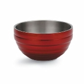 Vollrath Round Double Wall Insulated Colored Serving Bowl, 6.9 qt, S/S, w/Metallic Dazzle Red Color Finish